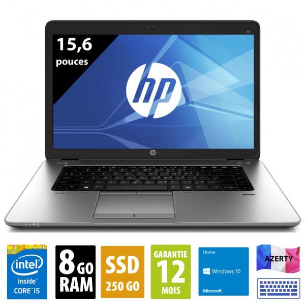 HP Elitebook 850 G1 - 15,6 pouces - Core i5-4300U@1,90GHz - 8Go RAM - 250Go SSD - WXGA (1366x768) - Windows 10 Home
