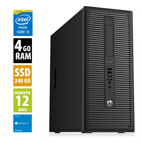 HP ProDesk 600 G1 TWR - Core i3-4160@3.60GHz - 4Go RAM - 240Go SSD - Windows10 Home