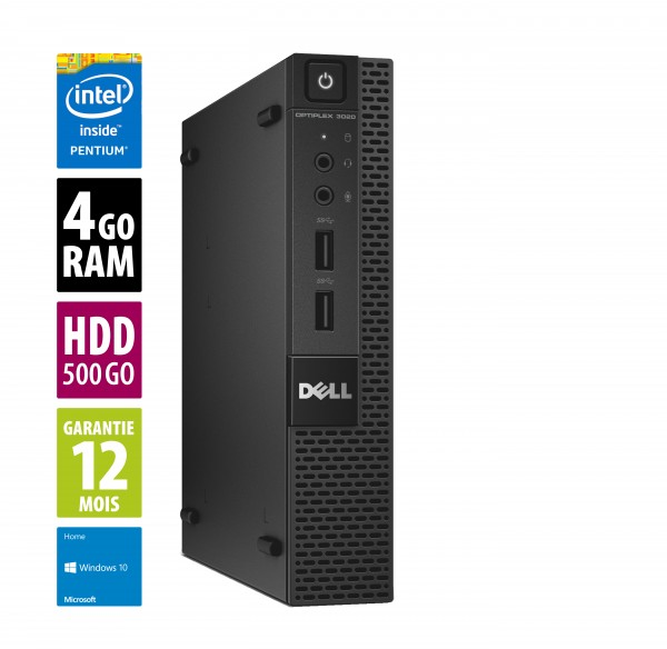 Dell Optiplex 3020 USFF - Pentium G3220@3.00GHz - 4Go RAM - 500Go HDD - Sans lecteur/graveur - Windows 10 Home