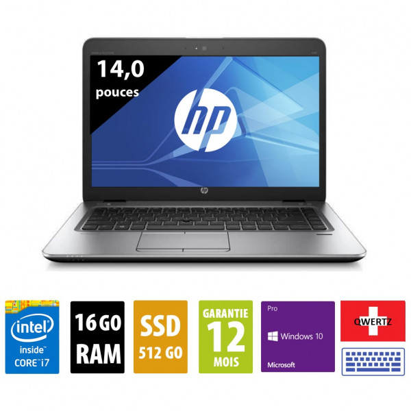 HP Elitebook 840 G3 - 14 pouces - Clavier Suisse - Core i7-6500U@2,50GHz - 16Go RAM - 512Go SSD - WXGA (1366x768) - Windows 10 Pro