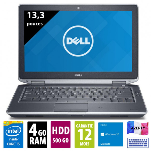 Dell Latitude E6330 - 13,3 pouces - Core i5-3320M@2,60 GHz - 4Go RAM - 500Go HDD - WXGA (1366x768) - Windows 10 Home