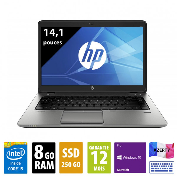 HP Elitebook 840 G2 - 14,1 pouces - Core i5-5300U@2,30GHz - 8Go RAM - 250Go SSD - WXGA (1366x768) - Windows 10 Pro