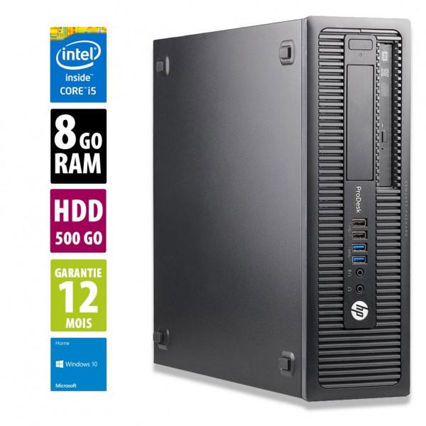 HP ProDesk 600 G1 SFF - Core i5-4590@3,30GHz - 8Go RAM - 500Go HDD - DVD-RW - Windows 10 Home