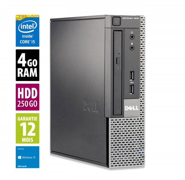 Dell Optiplex 7010 USFF - Core i5-3470 @3.20GHz - 4Go RAM - 250Go HDD - DVD-RW- Windows 10 Home