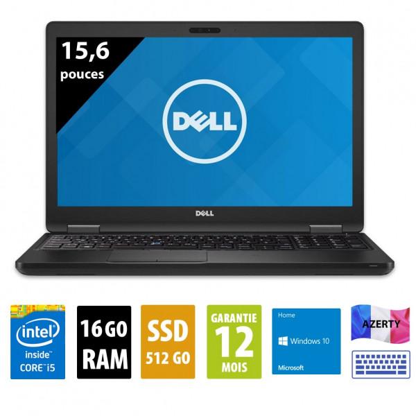 Dell Latitude 5580 - 15,6 pouces - Core i5-7300HQ@2.50GHz - 16Go RAM - 512Go SSD - Windows 10 Home