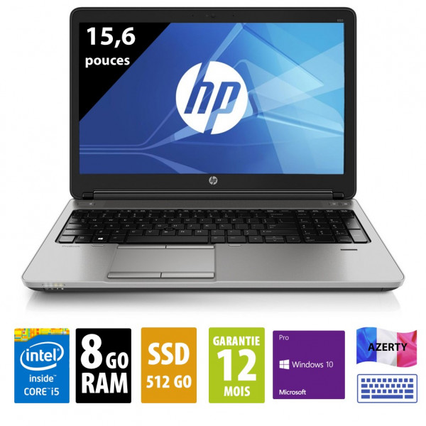 HP Probook 650 G2- 15,6 pouces - Core i5-6300U@2.40GHz - 8Go RAM - 512Go SSD - WXGA (1366x768) - Windows 10 Pro