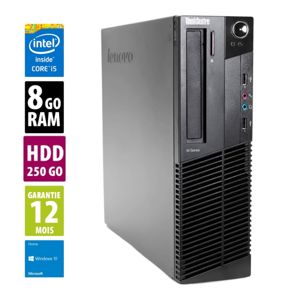 Lenovo ThinkCentre M93P - Core i5-4570@3.20GHz - 8Go RAM - 250Go HDD - DVD-RW - Windows 10 Home