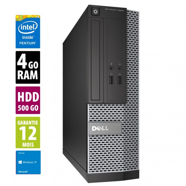 Dell Optiplex 3020 USFF - Pentium G3220@3.00GHz - 4Go RAM - 500Go - DVD-RW - Windows 10 Home
