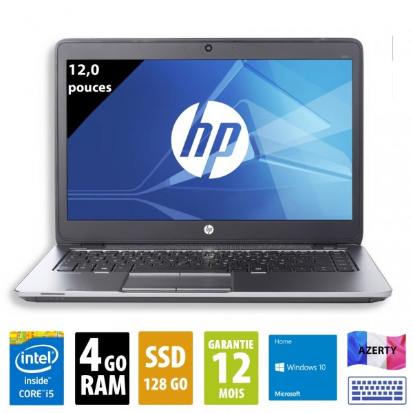 HP Elitebook 820 G1 - 12 pouces - Core i5-4300U@1,90GHz - 4Go RAM - 128Go SSD - WXGA (1366x768) - Windows 10 Home