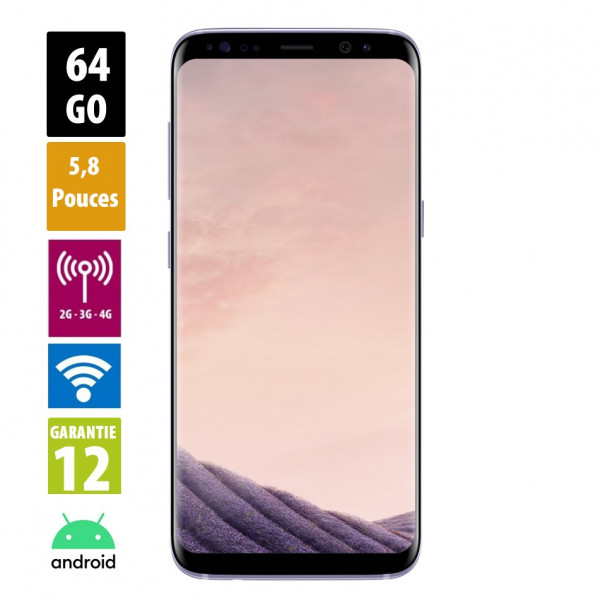 Galaxy S8 Gris orchidée 64GB reconditionné - Grade A