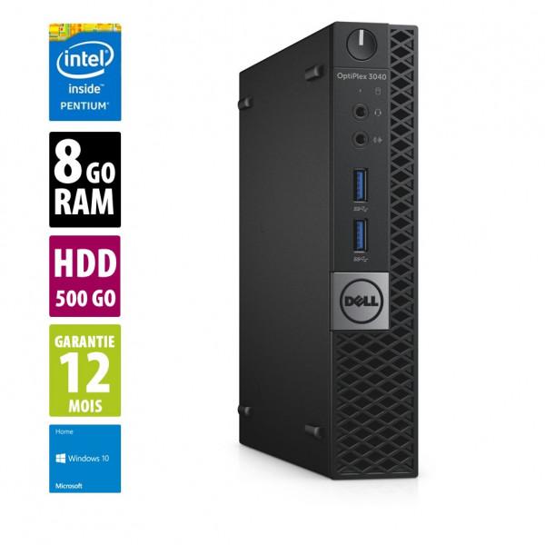 Dell Optiplex 3040 USFF - Pentium CPU G4400T@2.90GHz - 8Go RAM - 500Go HDD - Windows 10 Home
