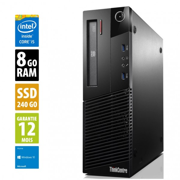 Lenovo ThinkCentre M93P - Core i5-4570@3.20GHz - 8Go RAM - 240Go SSD - DVD-RW - Windows 10 Home