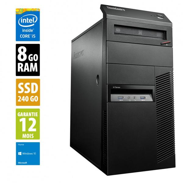 Lenovo ThinkCentre M93P - Core i5-4570@3.20GHz - 8Go RAM - 240Go SSD - DVD-RW - Windows 10 Home