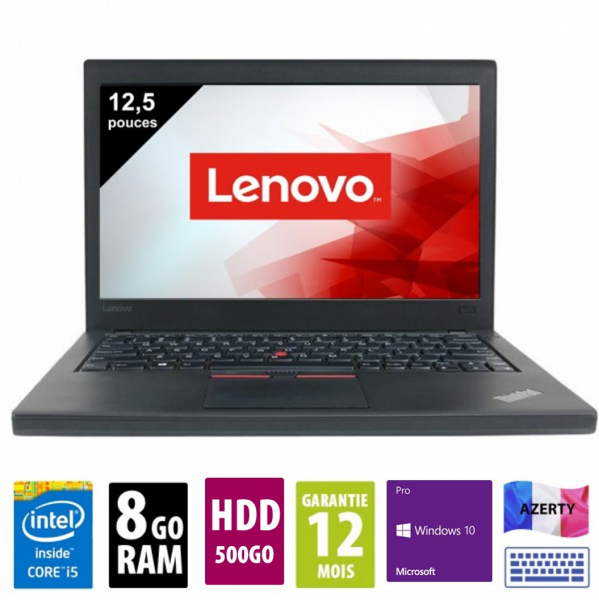 Lenovo Thinkpad X260 - 12,5 pouces - Core i5-6300U@2.40GHz - 8Go RAM - 500 HDD - WXGA (1366x768) - Windows 10 Pro