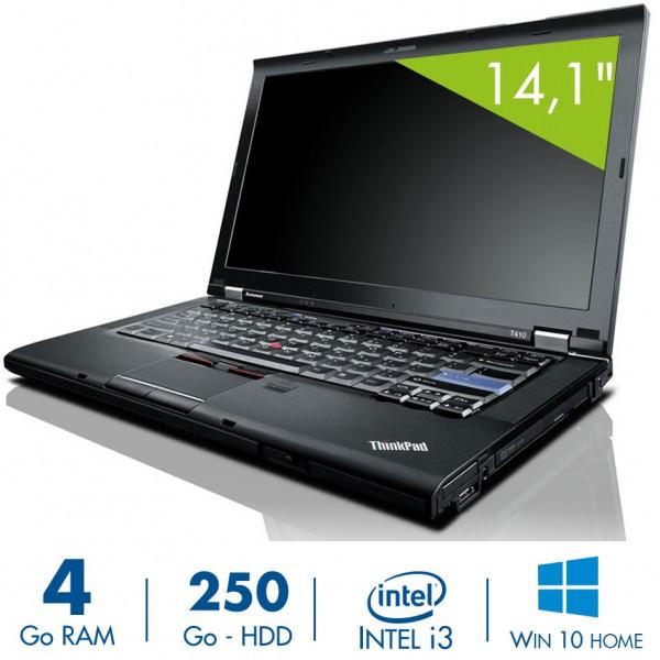 Lenovo T410i - 14,1 pouces - Core i3-M370@2,40GHz - 4Go RAM - 250Go HDD - DVD-RW - WXGA (1366x768) - Windows 10 Home