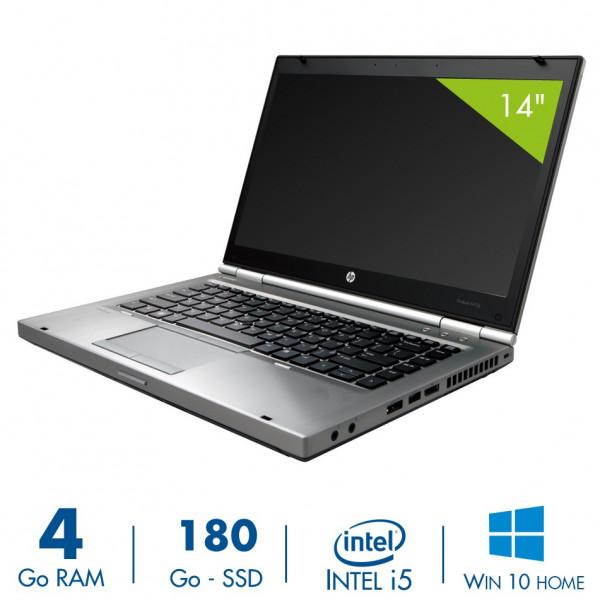 HP Elitebook 8470p - 14,1 pouces - Core i5-3360M@2,80GHz - 4Go RAM - 180Go  SSD - DVD-RW - WXGA (1366x768) - Windows 10 Home