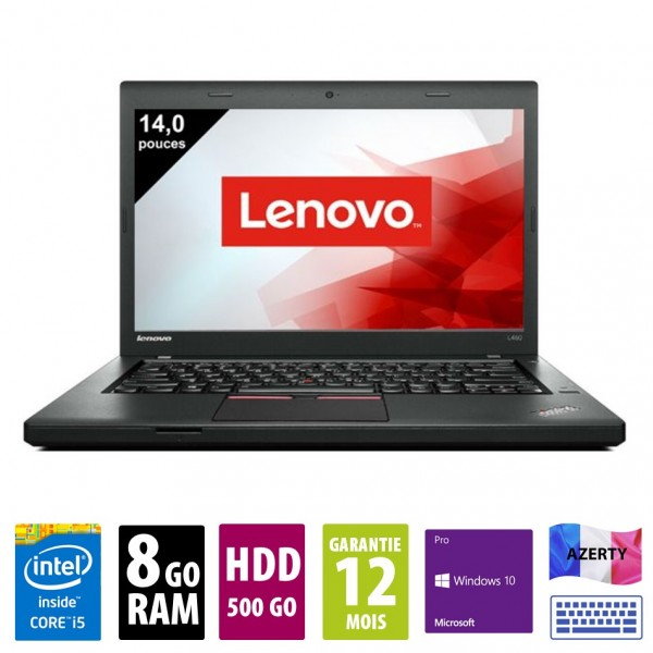 Lenovo ThinkPad L460- 14 pouces - Core i5-6300U@2.40 GHz - 8Go RAM - 500Go HDD - WSXGA (1366x768) - Windows 10 Pro