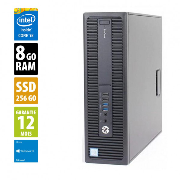 HP ProDesk 600 G1 SFF - Core i3-4160@3.40GHz - 8Go RAM - 256Go SSD - Windows 10 Home