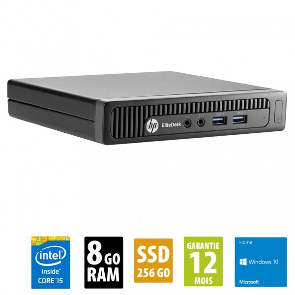 HP EliteDesk 600 G1 DM USFF - Core i5-4590T@2.00GHz - 8Go RAM - 256Go SSD - Windows 10 Home