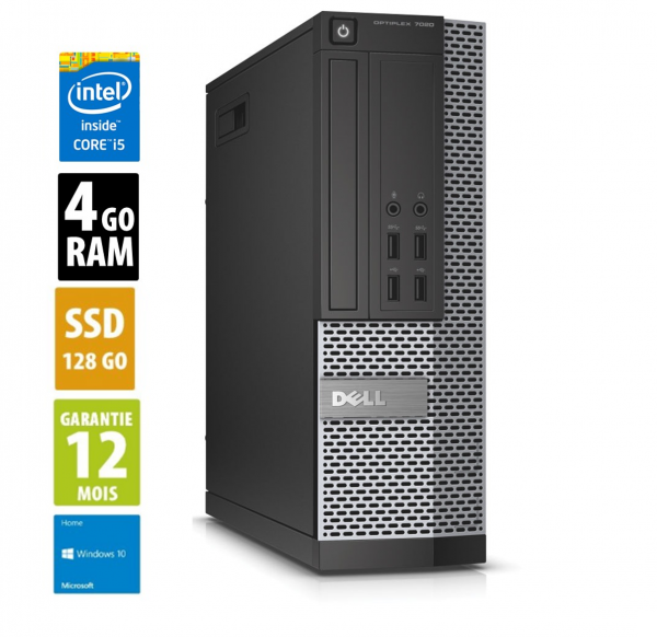Dell Optiplex 7020 SFF - Core i5-4590@3.30GHz - 4Go RAM - 128Go SSD - DVD-RW - Windows 10 Home