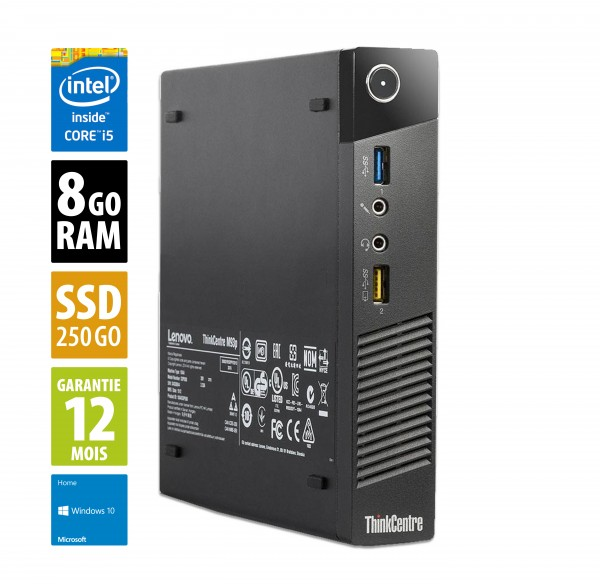 Lenovo M93p USSF - Intel Core i5-4590T@2,00GHz - 8 Go RAM - 250 Go SSD - Windows 10 Home