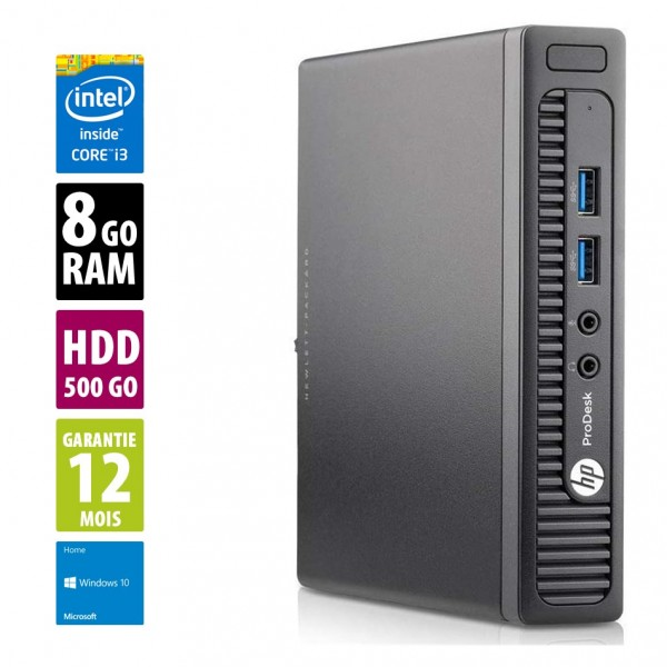 HP ProDesk 400 G1 USDT - Core i3-4160T@3.10GHz - 8Go RAM - 500Go HDD  - Windows 10 Home