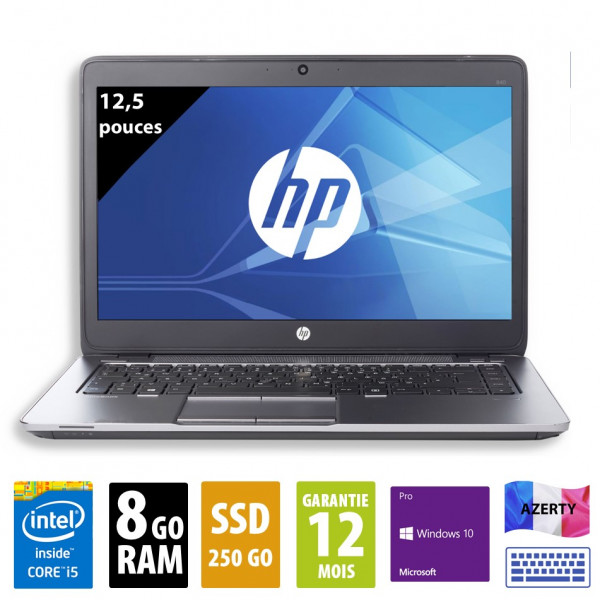 HP Elitebook 820 G2 - 12,5 pouces - Core i5-5300U@2,30GHz - 8Go RAM - 250Go SSD - WXGA(1366x768) - Windows 10 Pro