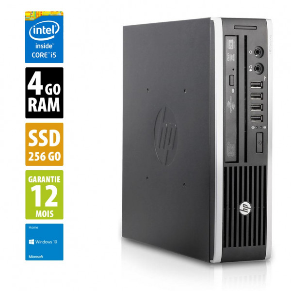 HP Compaq Elite 8200 USDT - Core i5-2500S@2.70GHz - 4Go RAM - 256Go SSD - Windows 10 Home