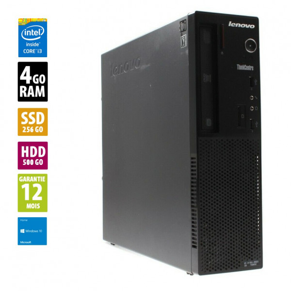Lenovo ThinkCentre E73 - Core i3-4160@3.60GHz - 4Go RAM - 256Go SSD + 500Go HDD - DVD-RW - Windows 10 Home