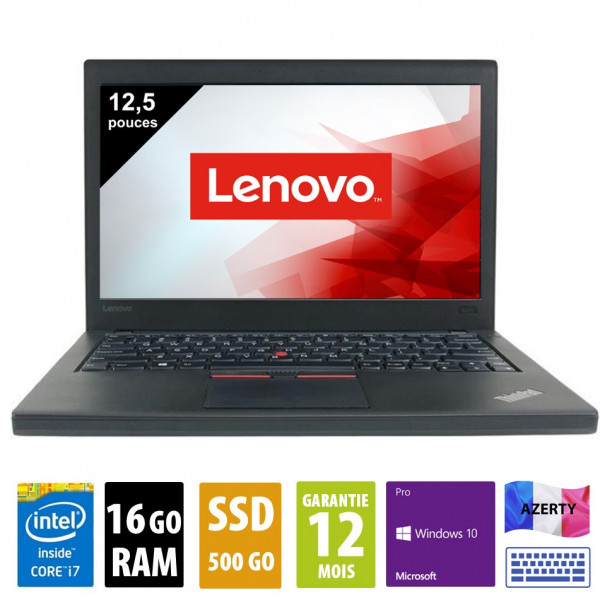 Lenovo Thinkpad X260 - 12,5 pouces - Core i7-6600U@2.60GHz - 16Go RAM - 500Go SSD - WXGA (1366x768) - Windows 10 Pro