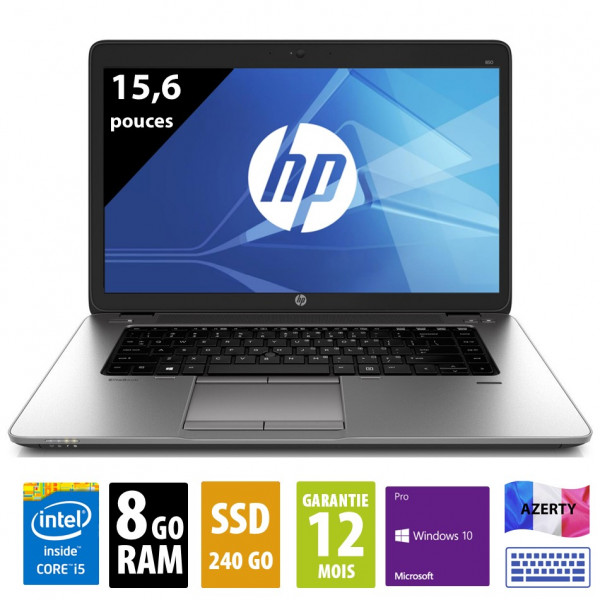HP Elitebook 850 G2 - 15,6 pouces - Core i5-5300U@2.30GHz - 8Go RAM - 240Go SSD - WXGA (1366x768) - Windows 10 Pro