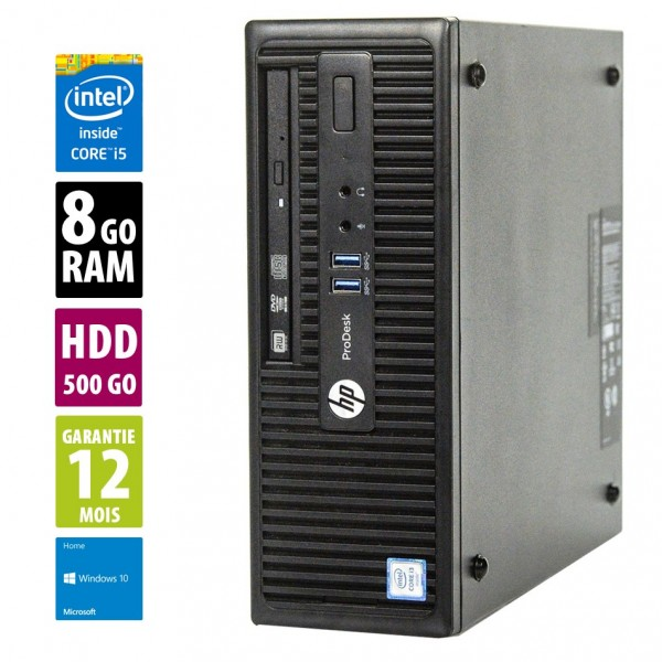 HP ProDesk 400 G3 SFF- Core i5-4590@3.30GHz - 8Go RAM - 500Go HDD - DVD-RW - Windows 10 Home