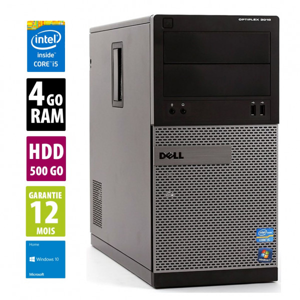 Dell Optiplex 3010 MT - Core i5-3470@3.20GHz - 4Go RAM - 500Go HDD - DVD-RW - Windows 10 Home