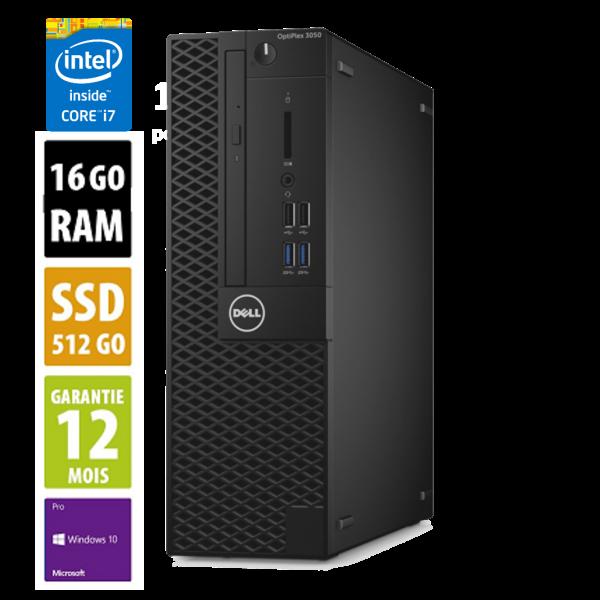 Dell Optiplex 3050 USFF - Core i7-7700@3.60GHz - 16Go RAM - 512Go SSD - DVD-R - Windows 10 Pro