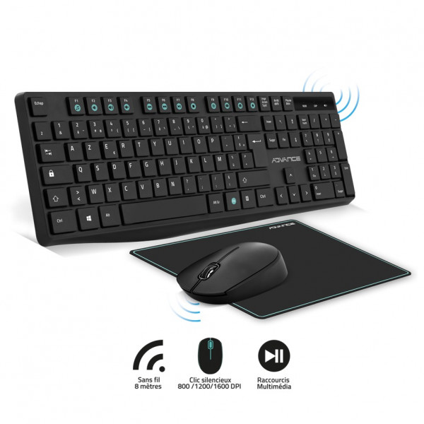 Pack ELITE WIRELESS COMBO - Clavier et Souris Sans Fil + Tapis AZERTY Slim Design - Neuf