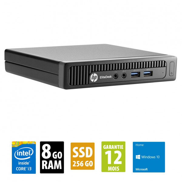HP EliteDesk 600 G1 USFF - Core i3-4150T@3.00GHz - 8Go RAM - 256Go SSD - Windows 10 Home