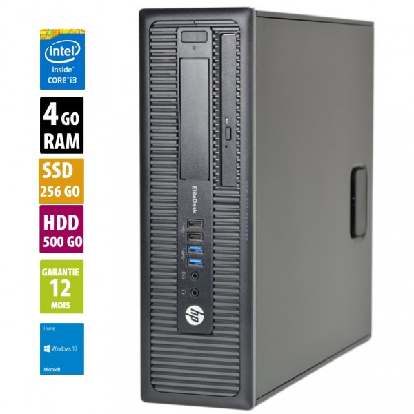 HP EliteDesk 800 G1 SFF - Core i3-4160@3,60GHz - 4Go RAM - 256Go SSD + 500Go HDD - Windows 10 Home