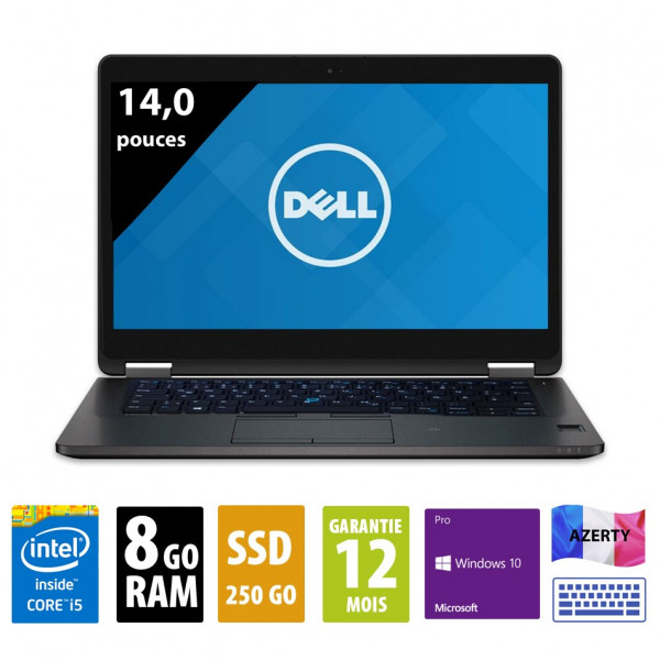 Dell Latitude E7470 - 14,0 pouces - Core i5-6300U@2,40GHz - 8Go RAM - 250Go SSD - WXGA (1920x1080) - Windows 10 Pro