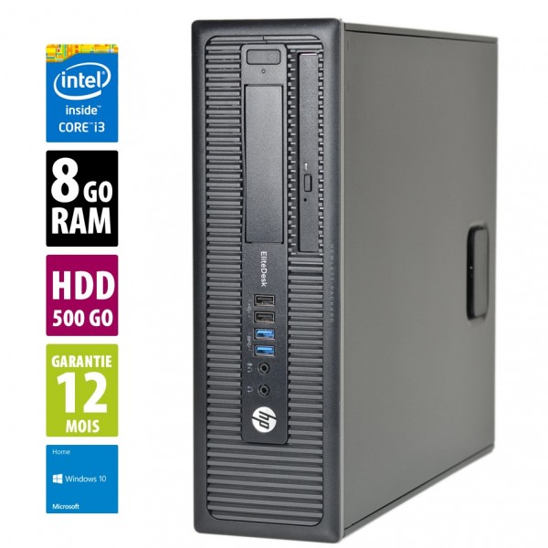 HP EliteDesk 800 G1 SFF - Core i5-4570@3,20GHz - 8Go RAM - 500Go HDD - DVD-RW - Windows 10 Home