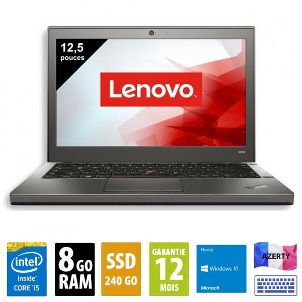 Lenovo ThinkPad X240 - 12,5 pouces - Core i5-4300U@1.90GHz - 8Go RAM - 240Go SSD - WXGA (1366x768) - Windows 10 Home