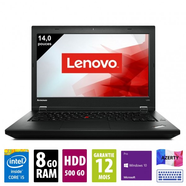 Lenovo ThinkPad L440 - 14 pouces - Core i5-4300M@2.60 GHz - 8Go RAM - 500Go HDD - DVD-R - WXGA (1366x768) - Windows 10 Pro