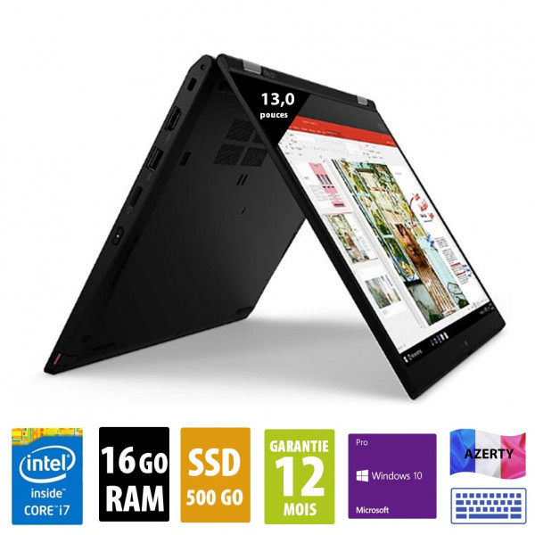 Lenovo ThinkPad L13 Yoga - 13 pouces - Core i7-10510U @ 1.80GHz - 16Go RAM - 500Go SSD - FHD (1920x1080) - Windows 10 Pro - Noir