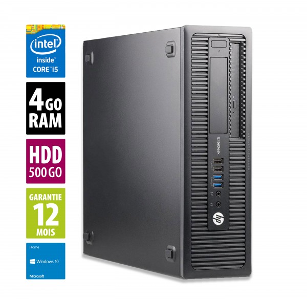 HP EliteDesk 800 G1 SFF - Core i5-4570@3,20GHz - 4Go RAM - 500Go HDD - DVD-RW - Windows 10 Home