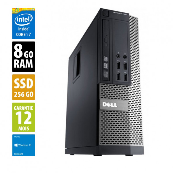 Dell Optiplex 7010 SFF - Core i7-3770@3.70GHz - 8Go RAM - 256Go SSD - Windows 10 Home