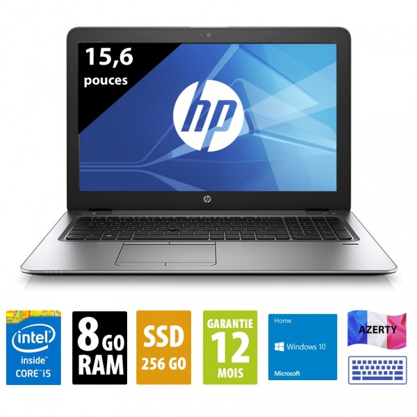 HP Elitebook 850 G3 - 15,6 pouces - Core i5-6300U@2.40GHz - 8Go RAM - 256Go SSD - WXGA (1366x768) - Windows 10 Pro