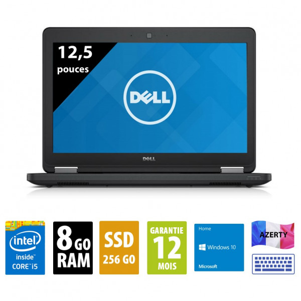 Dell Latitude E5250 - 12 pouces - Core i5-5300U@2.30GHz - 8Go RAM - 256Go SSD - WXGA ( 1366x768 ) - Windows 10 Home
