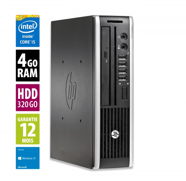 HP Elite 8200 USFF - Core i5-2500s@2,70GHz - 4Go RAM - 320Go HDD - DVD-RW - Windows 10 Home
