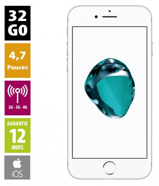 Apple iPhone 7 - 32 Go - Couleur Argent - reconditionné - Grade A+