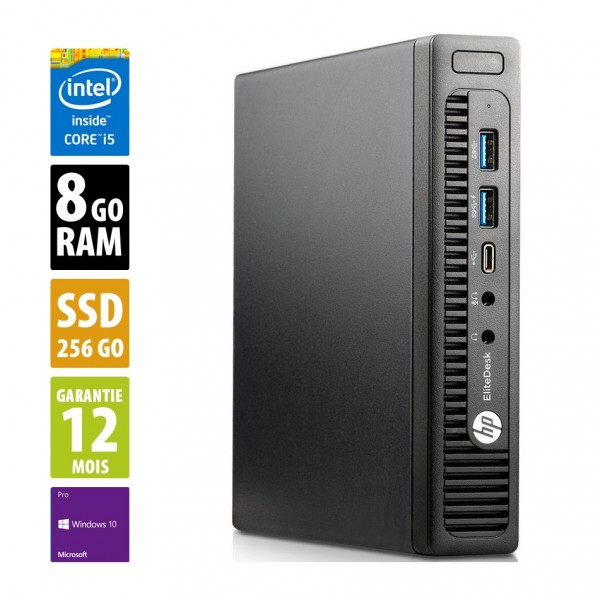 HP EliteDesk 800 G2 USDT - Core i5-6500T@2,50GHz - 8Go RAM - 256Go SSD - Windows 10 Pro
