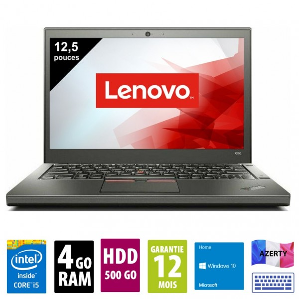 Lenovo ThinkPad X250 - 12,5 pouces - Core i5-5200U@2.20GHz - 4Go RAM - 500Go HDD - WXGA (1366x768)  - Windows 10 Home